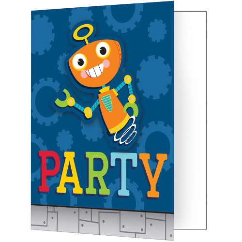 """Club Pack of 48 Blue and Orange 'Party' Robots Fold-over Invitations 7.5"""" - IMAGE 1"""