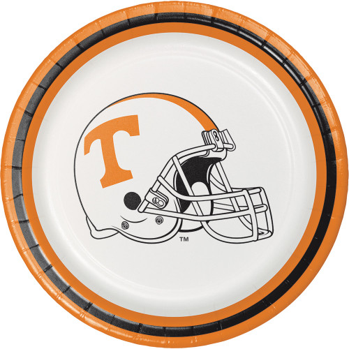 """Club Pack of 96 White and Orange Univ of Tennessee Knoxville Luncheon Plates 6.75"""" - IMAGE 1"""