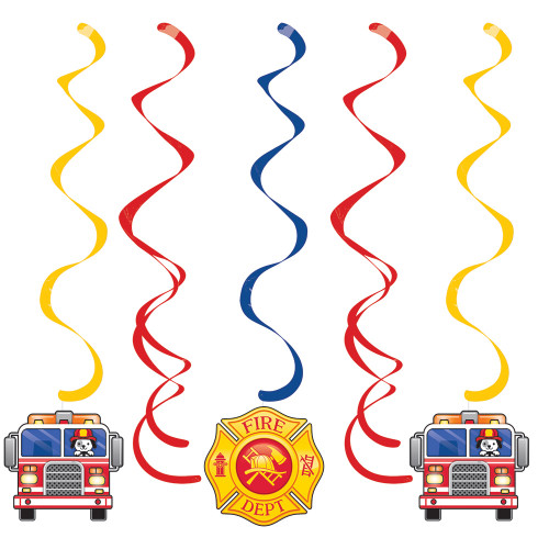 "Club Pack of 30 Yellow and Red Flaming Fire Truck Assorted Dizzy Dangler Party Favors 39"" - IMAGE 1"