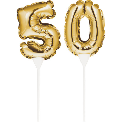 """Club Pack of 24 Gold Colored """"50"""" Balloon Cake Topper Picks 9"""" - IMAGE 1"""