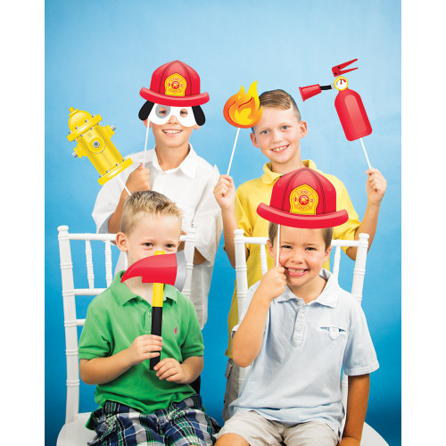 "Club Pack of 60 Red and Yellow Flaming Fire Truck Printed Photo Booth Prop 10"" - IMAGE 1"