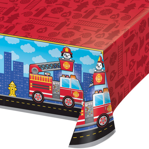 """Pack of 6 Red and Blue Flaming Fire Truck Printed Tablecovers 102"""" - IMAGE 1"""