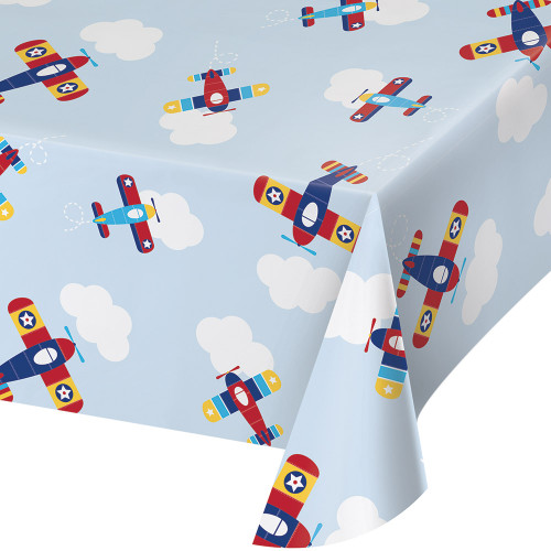 """Pack of 6 Red and Blue Little Flyer Airplane Printed Tablecover 102"""" - IMAGE 1"""