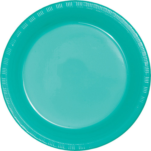 "Club Pack of 240 Teal Blue Solid Round Disposable Plastic Party Banquet Plates 10.25"" - IMAGE 1"