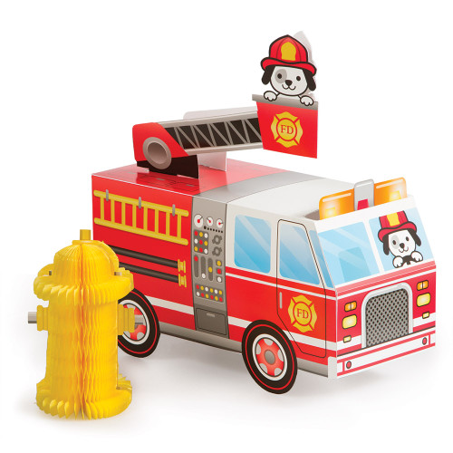"""Club Pack of 6 Red and Yellow Flaming Fire Truck Three Dimensional Centerpiece 10.5"""" - IMAGE 1"""