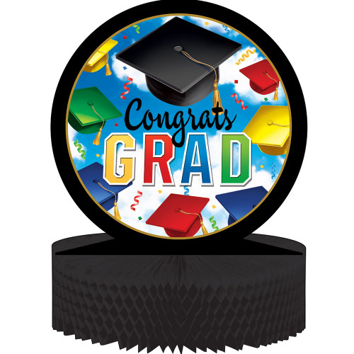 """Club Pack of 12 Black and Blue Graduation Honeycomb Shaped Centerpiece 13.5"""" - IMAGE 1"""