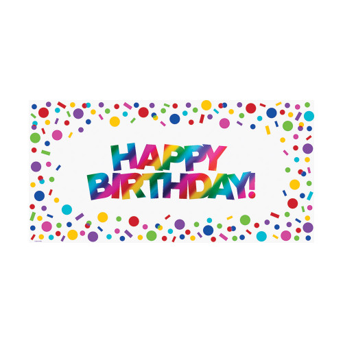 """Club Pack of 12 White and Blue Rainbow Happy Birthday Sign Large Party Banner 40"""" - IMAGE 1"""
