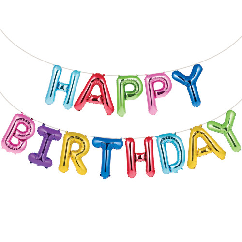 """Club Pack of 156 Rainbow Color Happy Birthday Sign Large Party Banner 16"""" - IMAGE 1"""