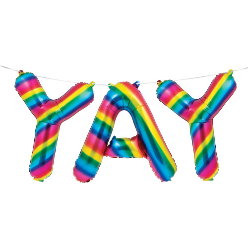 """Club Pack of 36 Pink and Blue Rainbow """"YAY"""" Sign Balloon Banner 16"""" - IMAGE 1"""