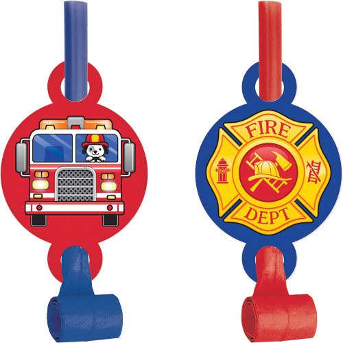 """Club Pack of 48 Red and Blue Flaming Fire Truck Printed Party Blowout with Medallion 5.25"""" - IMAGE 1"""
