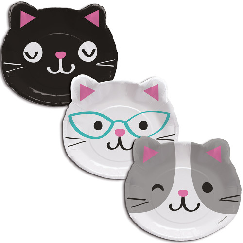 "Club Pack of 96 White and Black Kitty Face Disposable Dinner Plates 9.5"" - IMAGE 1"