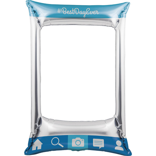 """Club Pack of 6 Blue and Off-White Instagram Rectangular Balloon Photo Frame 32"""" - IMAGE 1"""