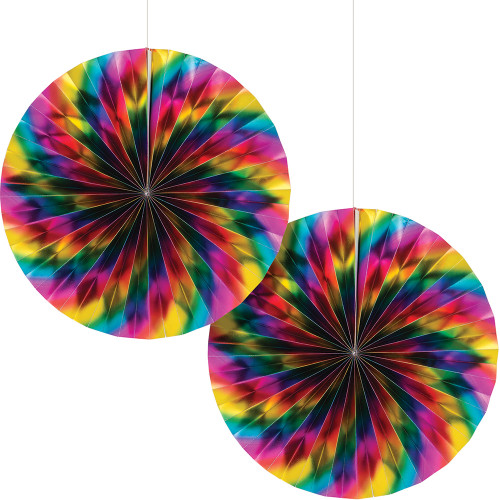 """Club Pack of 12 Multi Colored Paper Fan Hanging Party Decorations  7"""" - IMAGE 1"""