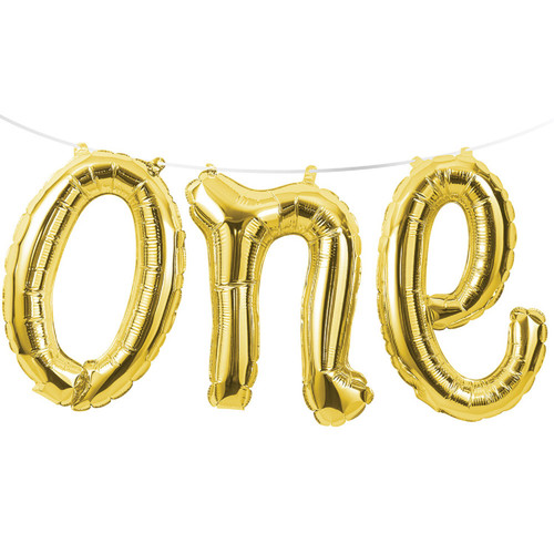 """Club Pack of 12 Gold Colored """"one"""" Foil Balloon Banners 60"""" - IMAGE 1"""