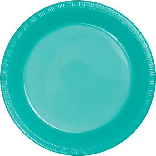 "Club Pack of 240 Teal Blue Round Disposable Plastic Party Banquet Luncheon Plates 7"" - IMAGE 1"