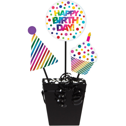 """Club Pack of 36 Multicolored """"Happy Birthday"""" Foil Centerpiece Sticks 16"""" - IMAGE 1"""