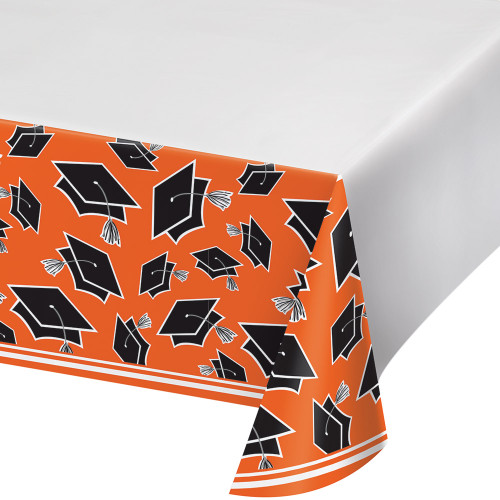 """Club Pack of 12 Orange and Black School Spirit Decorative Table Cover 102"""" - IMAGE 1"""