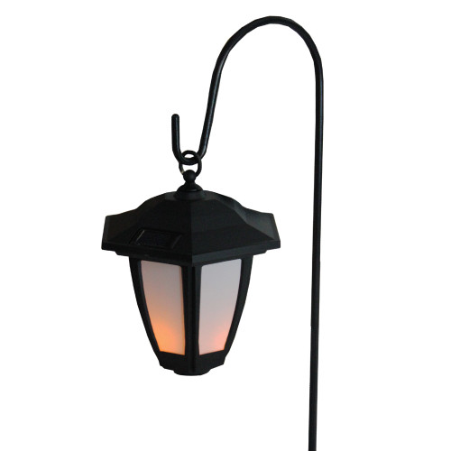 27 Black and White LED Solar Powered Light Post Lantern with Shepherd's Hook Garden Stake - IMAGE 1