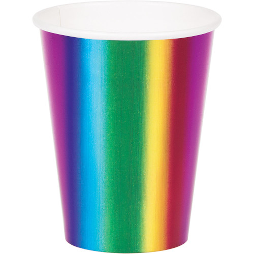 Club Pack of 96 Green and Blue Rainbow Disposable Party Cups - IMAGE 1