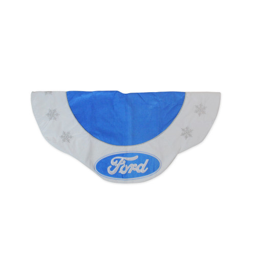 """45.5"""" Blue and White Ford Scalloped Christmas Tree Skirt - IMAGE 1"""