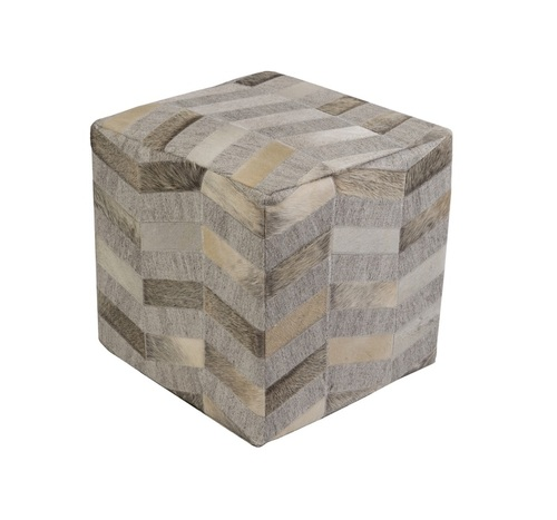 """18""""Taupe Brown and Smokey Gray Country Rustic Foot Stool Ottoman - IMAGE 1"""