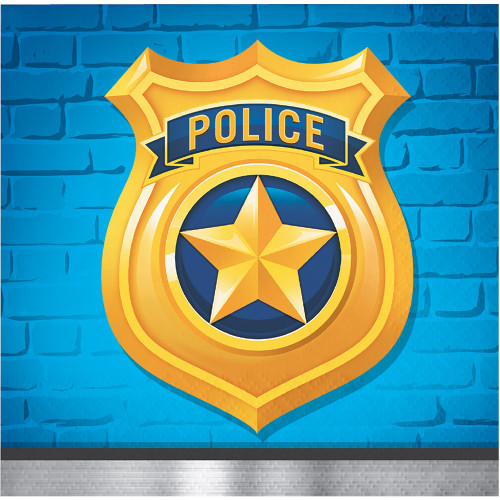 """Club Pack of 192 Blue and Yellow Police Badge Disposable Napkins 5"""" - IMAGE 1"""