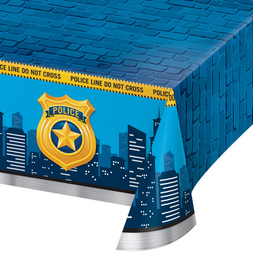 """Pack of 6 Blue and Yellow Police Badge Theme Table Cover 16.25"""" - IMAGE 1"""