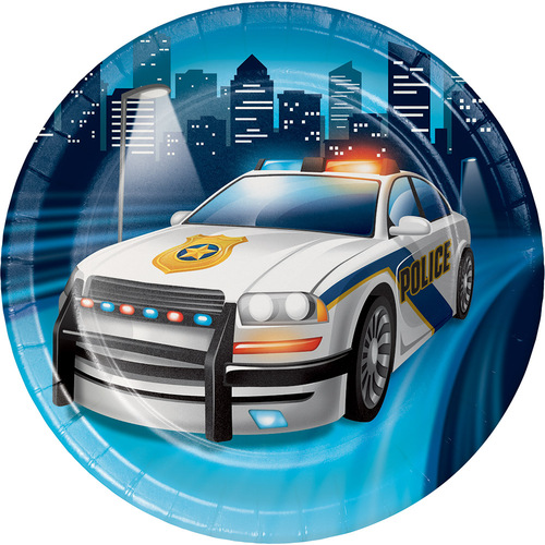 """Club Pack of 96 blue and Gray Police Car Lucheon Disposable Plates 6.8"""" - IMAGE 1"""