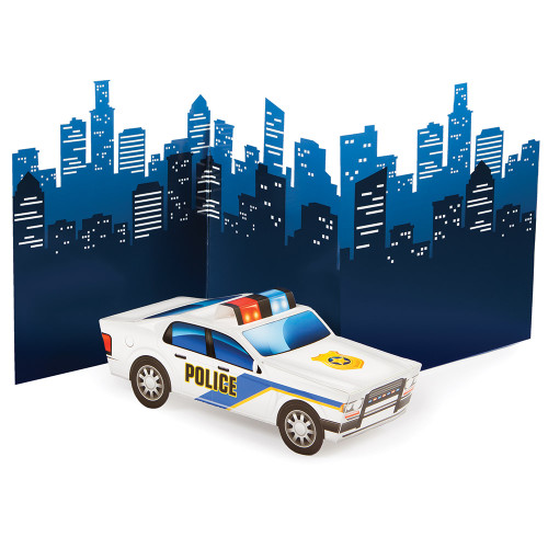 "Pack of 6 Seafoam blue and Yellow 3D Police Car Centerpieces 13"" - IMAGE 1"