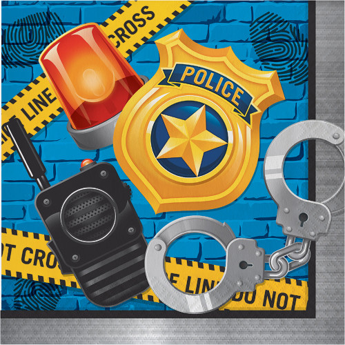 """Club Pack of 192 Blue and Yellow """"Police"""" Party Disposable Napkins 6.5"""" - IMAGE 1"""