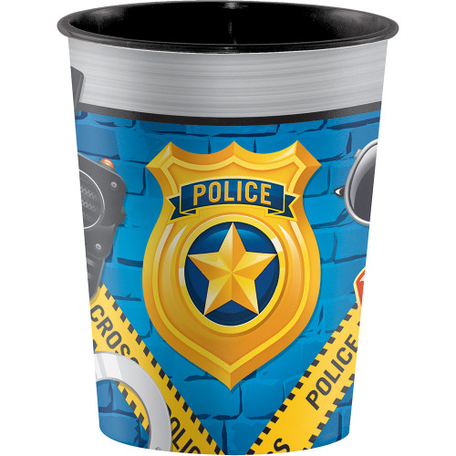 """Club Pack of 12 Sky Blue and Yellow Police Party Cups 4.5"""" - IMAGE 1"""