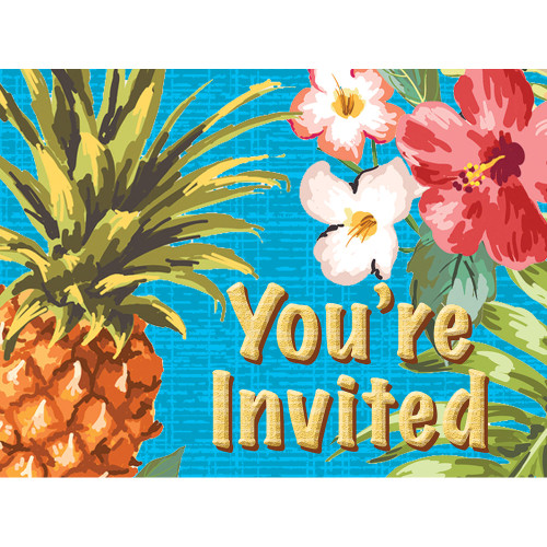 """Club Pack of 48 Blue and Green Aloha Rectangular Invitations 7"""" - IMAGE 1"""