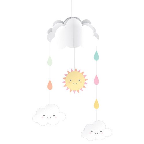 """Pack of 6 White and Pink Baby Shower Hanging Mobile Cutouts 10.5"""" - IMAGE 1"""