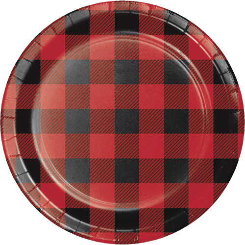 """Club Pack of 96 Red and Black Buffalo Plaid Luncheon Plate 7"""" - IMAGE 1"""