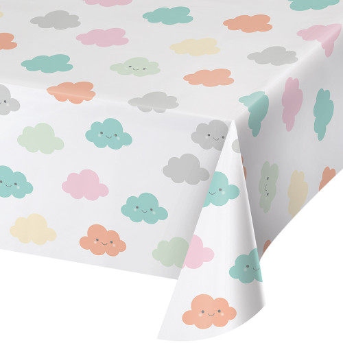 """Pack of 6 Blue and White Cloudy Star Printed Tablecovers 102"""" - IMAGE 1"""