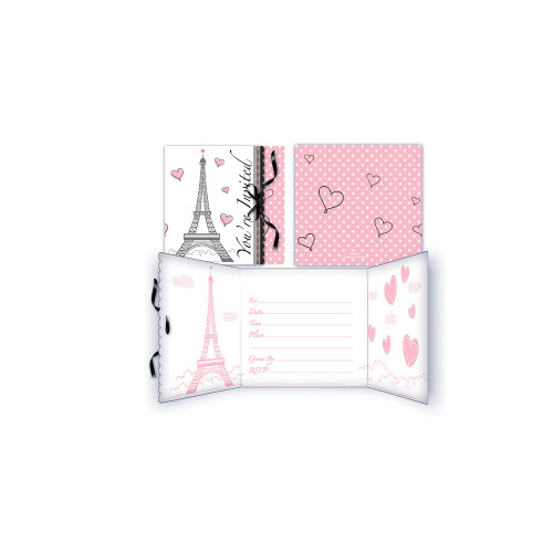 "Pack of 48 Pink and White Party in Paris Gatefold Invitations 4.5"" - IMAGE 1"
