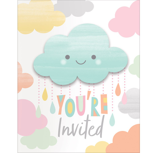 """Club Pack of 48 Blue and White """"You're Invited"""" Baby Showers Invitation Card 5"""" - IMAGE 1"""