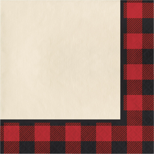 """Club Pack of 192 Red and Black Buffalo Plaid Luncheon Napkin 6.5"""" - IMAGE 1"""