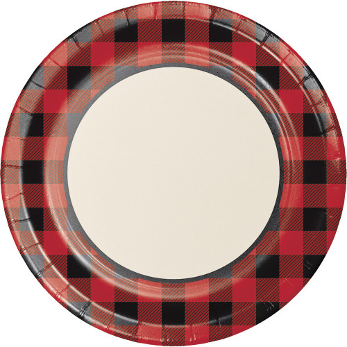 """Club Pack of 96 Red and Black Buffalo Plaid Theme Banquet Plates 10"""" - IMAGE 1"""