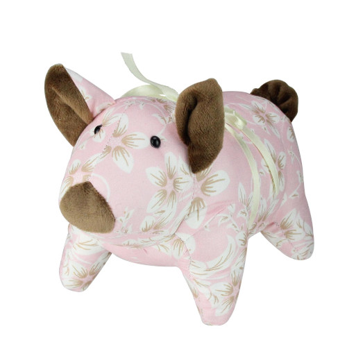 """10"""" Country Pink and Brown Floral Easter Piglet Spring Figure - IMAGE 1"""
