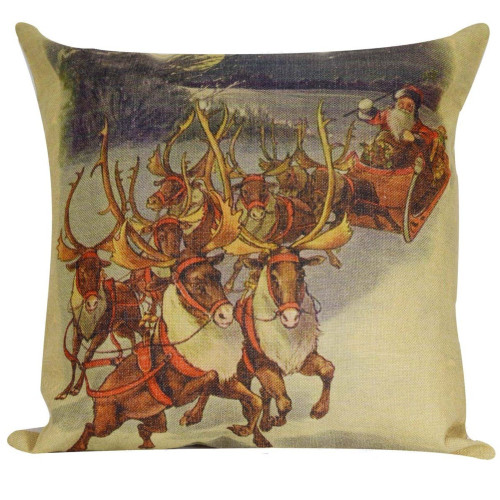 "18"" Vintage Santa Claus with Reindeer and Sleigh Decorative Christmas Throw Pillow Cover with Insert - IMAGE 1"