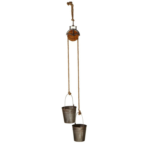 """Set of 2 Double Metal Bucket Planter with Pulley Hanger 57"""" - IMAGE 1"""
