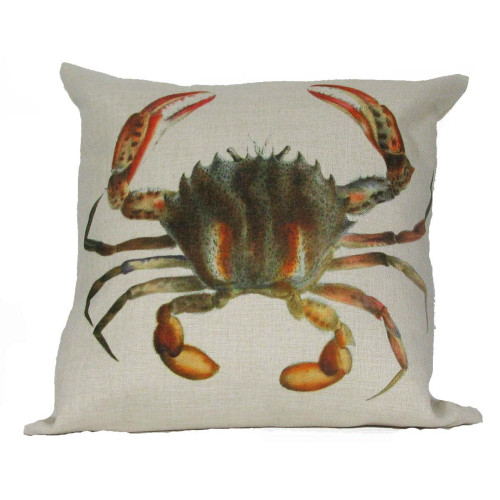 """18"""" Beige and Gray Antique Sea Inspired Crab Throw Pillow Cover - IMAGE 1"""