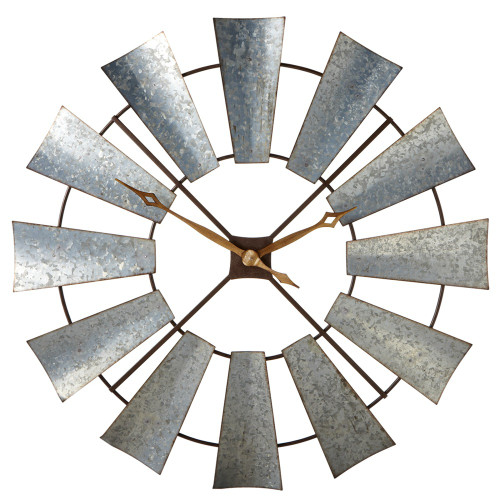 """38"""" Rustic Galvanized Metal Windmill Wall Clock with Two Hands in the Center - IMAGE 1"""