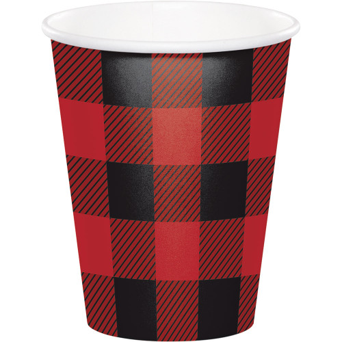 Club Pack of 96 Red and Black Buffalo Plaid Disposable Party Cups 9 oz. - IMAGE 1