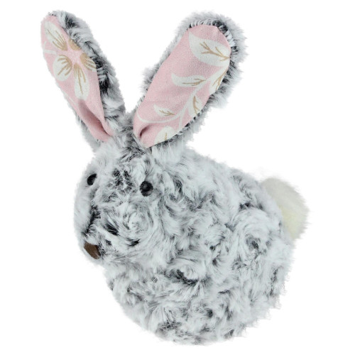 """6.5"""" Gray and Pink Floral Rabbit Easter Tabletop Decor - IMAGE 1"""