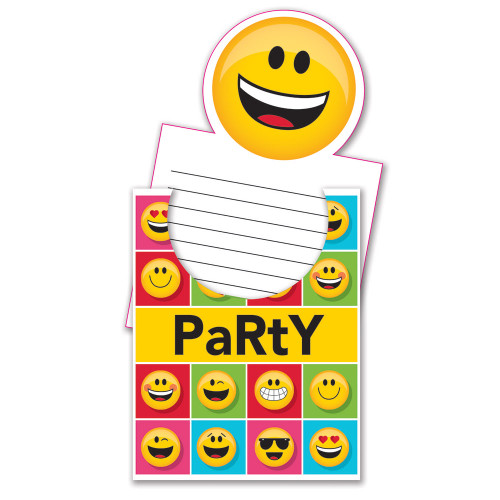 """Club Pack of 48 Yellow and Black Emojis Pop Up Invitations 8.25"""" - IMAGE 1"""