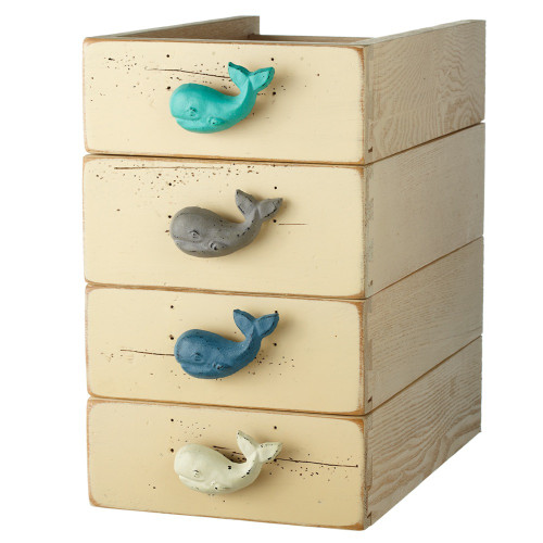 """Set of 12 Subtle Colored Whale Shaped Decorative Table Knobs 3"""" - IMAGE 1"""
