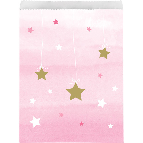 """Club Pack of 120 Pink and White Little Star Disposable Treat Bags 8.75"""" - IMAGE 1"""
