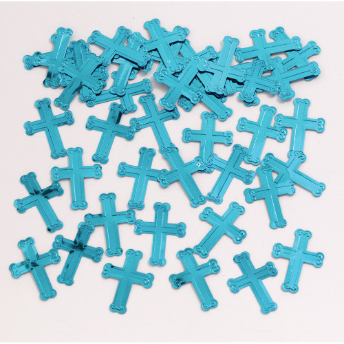 """Club Pack of 12 Blue Religious Cross Celebration Confetti Sprinkle 4"""" - IMAGE 1"""
